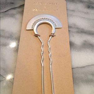 New Silver Pave Crystal Fan Hair Pin